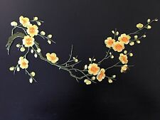 Sew on & iron on embroidery patches(yellow & orange plum flower )