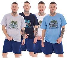 Mens Pyjama Set Short Big Crew Neck Cotton Blend Printed Regular Loungewear