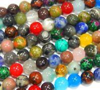 Naturstein Perlen Edelstein 10mm Bunter Strang 38cm Mix Kugel Schmucksteine G282