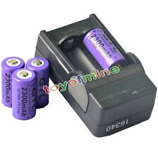 4x CR123A 16340 123A 3.7V 2300mAh Purple GTL Rechargeable Battery + GTL Charger