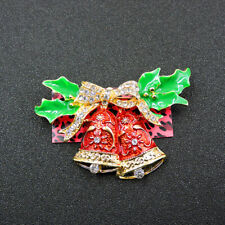 Bells Betsey Johnson Brooch Pin Women's Red Enamel Crystal Christmas Bowknot