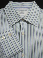 CHARLES TYRWHITT Mens 16/34 Slim Fit Non-Iron Blue/Green Stripe Dress Shirt_580