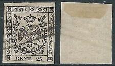 1852 DUCATO DI MODENA USATO AQUILA SENZA PUNTO 25 CENT - AS1-2