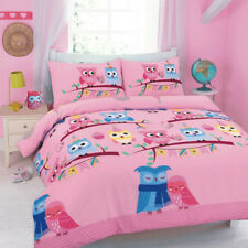 Cute Owl Printed Design Duvet Quilt Cover Bedding Set Pillowcase 4 Colours Pink Single