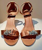 ❤️NEXT❤️ Ankle Strap Dusky Pink Satin High Heel Diamante Detail Sandals UK 8