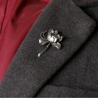 Vogue Antique Silver Gold Lotus Flower Lapel Pins Brooch Men's Fashion Jewelry