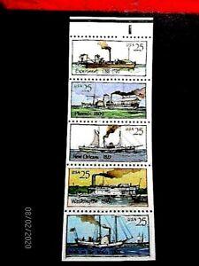 2409a Unfolded pl#1 steamboat pane/5 vf MNH, cat 8.-