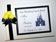 PERSONALISED DISNEY CASTLE WEDDING GUEST BOOK (NAVY), DISNEY WEDDING ALBUM
