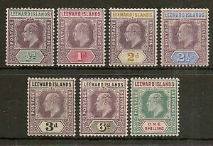 LEEWARD ISLANDS 1905-08 KEVII SET TO 1/- SG29/35 FRESH MINT