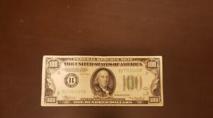 Green Seal 1934 A $100 One Hundred Dollar Reserve Note New York