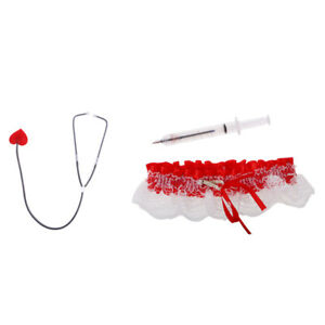 Nurse Costume Lace Garter Red Syringe Pen Heart  Set Fancy Dress