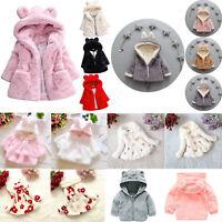 Kids Baby Girls Winter Warm Faux Fur Fleece Hooded Jacket Coat Outwear Snowsuit