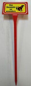 HIER IST KEIN HUNDEKLO sehr hoch Höhe 40cm Warnschild Gartenschild rot 11406
