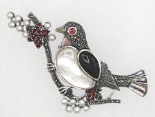 Brosche große Taube Onyx Perlmutt Granat Perle & Markasit  925 Sterling Silber