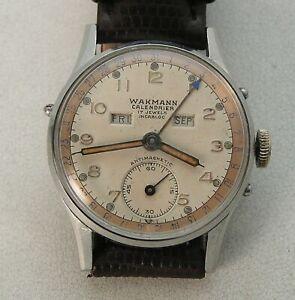 Stainless Steel Wakmann WOG Breitling Triple Pointer Calendrier Date Men's Watch