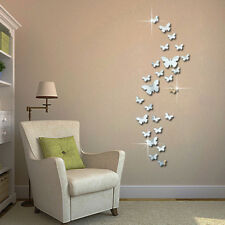 12pcs 3D Mirror Butterfly Wall Stickers Decal Homer Party Silver Newest