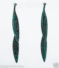 Kenneth Jay Lane Emerald on gunmetal double leaf pierce earrings