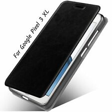 For Google Pixel 3 XL Case Slim Folio/Flip Pu Leather Stand Cover TPuU Black NEW