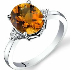 14k White Gold Oval Citrine Ring (size 7)