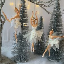 Gisela Graham White Tutu Pearl Swan Lake Ballerina Decoration Fairy Christmas