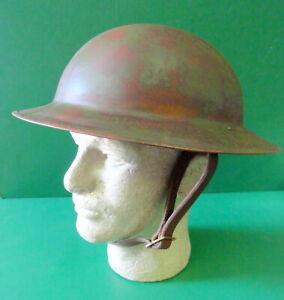 US MODEL M-1917 COMBAT HELMET W/LINER & LEATHER STRAP