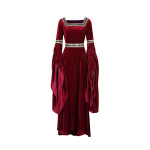 Vintage Women Medieval Costume Dress Renaissance Gothic Velvet Gown Halloween