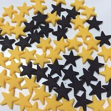 Edible Sugar Stars Cake Toppers Yellow & Black Or Choose Your Own Color - X 100