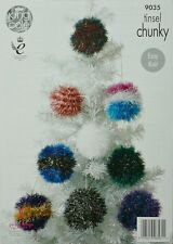 King Cole 9035 Knitting Pattern Tinsel Chunky Christmas Trees and Baubles