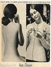 Publicité Advertising 1972 Parfums et sweaters Jean Dessès