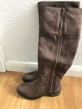 WINTER FAUX SUEDE BROWN ZIPPED KNEE LENGTH FLAT BOOTS SIZE 5 BRAND NEW