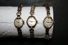 Lot of 3 Vintage Ladies Wristwatches with Expansion Bands Benrus Bulova Gruen