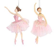 2 x Gisela Graham Pink Ballerinas Hanging Christmas Tree Decorations 16cm