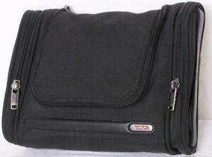 Tumi Black Pockets Zipper Travel Luggage Carrying Toiletry Bag w/ Hanger