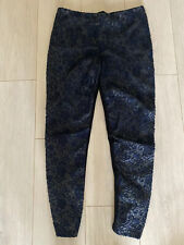 BLACK BLUE CROCHET LEGGINGS STRETCHY ZARA L TOWIE CELEB XMAS WINTER GLAM POSH