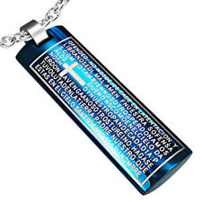 Pendentif homme acier bleu Zense ZP0024 tag avec croix et inscriptions latines