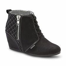 New! Bongo Womens Kedzie Wedge Bootie - Black  82P kl