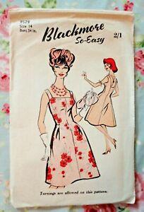 """Vintage 1960s Blackmore Sewing Pattern. Ladies Oarty Dress. 34"""" Bust. Unused."""