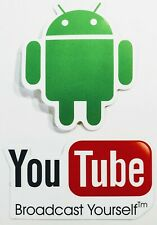 YouTube Logo & Google Android Robot Stickers Phone iPhone Bike Car Laptop Tablet