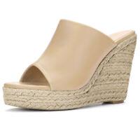 Allegra K Women's Open Toe Espadrille Wedge Heel Platform Mules