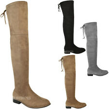 WOMENS LADIES LOW FLAT HEEL OVER THE KNEE THIGH HIGH STRETCH RIDING BOOTS SIZE