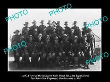 OLD POSTCARD SIZE PHOTO OF McLAREN VALE LIGHT HORSE MACHINE GUN ANZACS c1938