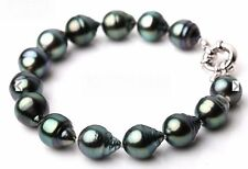 "Stunning 7.5-8""10-13mm Natural Tahitian genuine black drop pearl bracelet 0219"
