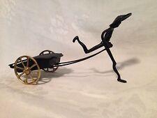 Vintage Rare Art Deco Art Metal Rickshaw Figure Covered Brass Removeable Ashtray