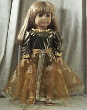 "Doll Clothes Made 2 Fit American Girl 18"" inch Ice Skate-Dance Gold Trees Bronze"
