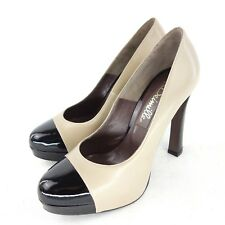 deimille Women's Pumps Vicky 37 Leather Patent Beige Black HighHeel NP 210 NEW
