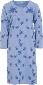 Lucky Ladies Nightgown Thermal Long with Flowers Winter Buttons Size M L XL XXL