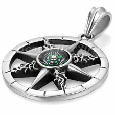 """Mens Vintage Round Circle Compass Pendant Stainless Steel Chain Necklace 22"""""""