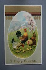 R&L Postcard: Better Quality Embossed Easter Egg Hen & Chicks