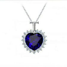 Women Jewelry Crystal Rhinestone sapphire Square Charm Silver Pendant Necklace