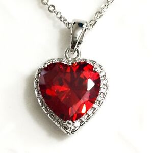 Gorgeous 3.5 Ct Heart Ruby Red Diamond Halo Pendant Women Necklace Gold Plated